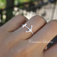 Sideways Anchor Ring with Rope Style Band - Sterling Silver or Solid Gold