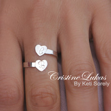 Double Wrap Ring Initials  Ring - Two Engraved Hearts  - Choose Your Metal