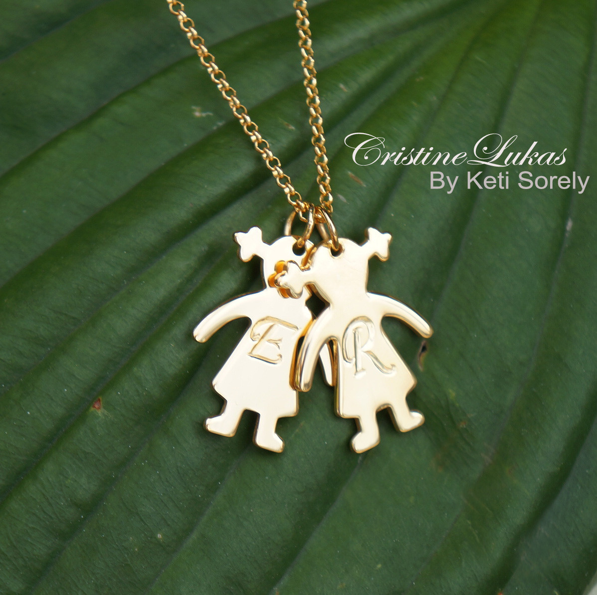 Engraved Kids Initials Girl Or Boy Silhouette Charm