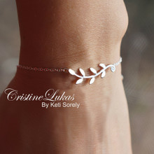 Sideways Olive Branch Bracelet - Sterling Silver, Yellow or Rose Gold
