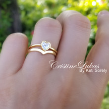 Classic Chevron Ring Set With Cubic Zirconia Heart Ring  - Choose Metal