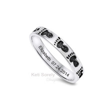 Birth of The Baby!  Engraved Foot Print Ring Band - Sterling Silver
