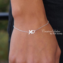 "Solid Gold XO Bracelet - ""Hugs & Kisses"" Handmade Fine Jewelry -Yellow, White or Rose Gold"