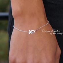 "Solid Gold XO Bracelet - ""Hugs & Kisses"" Handmade Fine Jewelry -Yellow, White or Rose Gold"