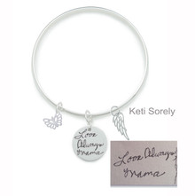 Hand Written Signature Disc Bangle with Butterfly & Angel Wing - Choose Your Metal