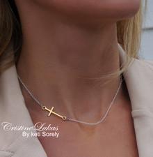 Two Tone Sideways Cross Necklace - Choose Metal