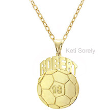 Personalized Soccer Sports Charm with Name - Choose Your Metal
