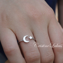 Moon & Star Adjustable Ring - Solid Gold