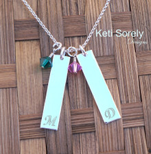 Create Your Own Family Initials Necklace. Choose  Your Desired Charm and Stone Quantity. Swarovski Birthstones.
