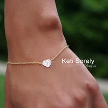 Small Heart Bracelet or Anklet with Diamond Settings - Choose Your Metal