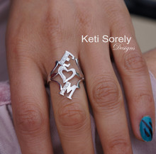 Couples Initials Ring With heart & Cuboc Zirconia Stones - Sterling Silver or Solid Gold