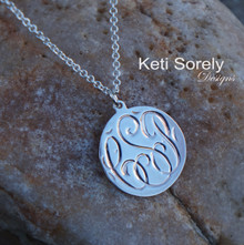 Hand Engraved Monogram Disc with Script Initials - Sterling Silver or Solid Karat Gold