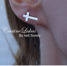 10K, 14K, 18K Solid Gold Sideways Cross Stud Earrings with Cross - Available in Yellow, White and Rose Gold
