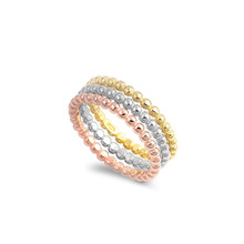 Tri Color Beaded Rings Set  with Beaded Design - Yellow, Rose and White Gold