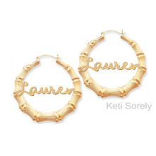 Celebrity Style Bamboo Name Earrings with Yellow or Rose Gold Overlay