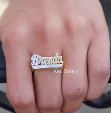 Two Tone Name Ring with Diamond Beading Imitation - Choose Your Metal