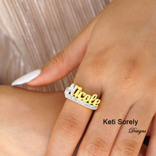 Two Tone Name Ring with Diamond Beading Imitation - Choose Your Metal