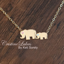 Mother & Child Elephant Charm Necklace with Genuine Birthstones - Eternal Love - Choose Your metal