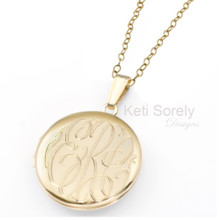 Hand Engraved Round Monogram Initial Locket - Choose Your Metal