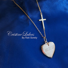 Hand Engraved Heart Locket With Sideways Cross
