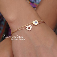 Layered Heart Bracelets With Genuine Birthstones  - Choose Your Metal