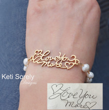 Handwritten Message Bracelet With Fresh Water White Pearls - Choose Your Metal
