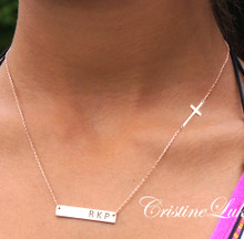 Personalized Bar Necklace With Sideways Cross - Choose Your Metal