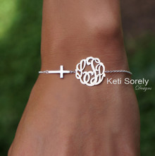 Sideways Cross Bracelet or Anklet with Monogrammed Initials - Choose Your Metal