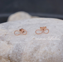 Solid Gold Classic Small Infinity Stud Earrings - Available in Yellow, White and Rose Gold