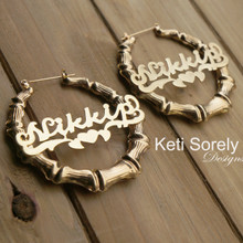 Celebrity Style Bamboo Name Earrings with Heart - Yellow or Rose Gold