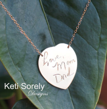Handwritten Message or Signature Heart  Necklace - Choose Your Metal