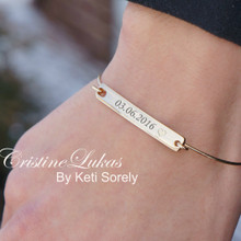 Personalized Bar Bangle - Engrave Your Special Date, Name Or Initials - Choose Your Metal