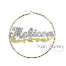 Handmade Name Earrings with Diamond Beading Imitation & Branch Design - Two Tone
