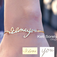 Personalized Signature Bangle Bracelet - Choose Your Metal