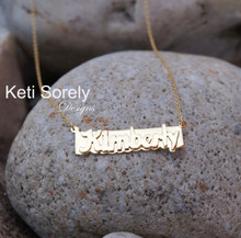 Nameplate Bar Necklace - 3D Name Neckalce - Choose Your Metal