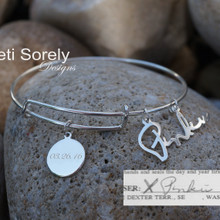 Handwritten Signature Bangle With Engraved Round Disc - Sterling Silver, Yellow Gold or Rose Gold