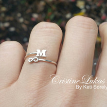 Double Wrap Infinity Ring With Single Initial - Choose Your Metal