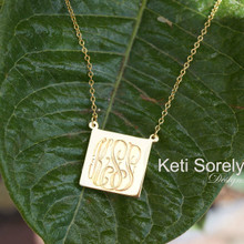 Square Monogram Necklace With Intiials - Sterling Silver or Solid Gold