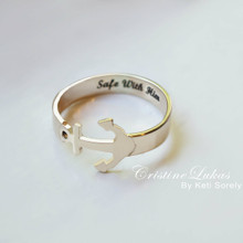 Peronalized Anchor Ring - engrave Your Name, Special Date or Word - Choose Your Metal
