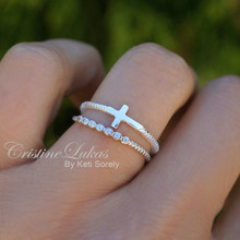 Stacking Ring Set of Sideways Cross and CZ Ring - Sterling Silver
