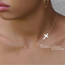 Celebrity style Sideways Cross Necklace in 10K, 14K, 18K Solid Gold