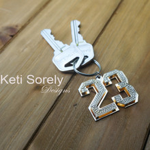 Bling Key Chain For Man - Yellow Gold with White Gold & Diamond Beading