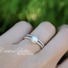 Sterling Silver Stacking Rings with Pearl R& Twisted Rope Band