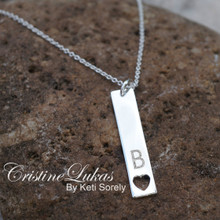Horizontal Bar Necklace with Cut Out Heart - Engrave Your Initial - Choose Your MEtal
