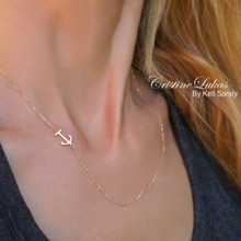Solid Gold Sideways Anchor Necklace - Dainty Anchor With Cross - White Gold, Yellow Gold or Rose Gold