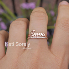 Stacking Rings Set With Personalized Name  & Cubic Zirconi Ring - Choose Your Metal