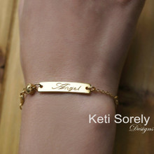 14K Gold Filled Engraved Bar Bracelet for Kids - Name Bracelet