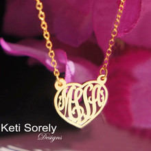 Heart Monogram Necklace - Choose Your Metal