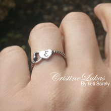 Dainty Initial Heart Ring in Solid Gold