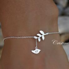 Engraved Bird Bracelet or Anklet With Tree Branch - Choose Your Metal